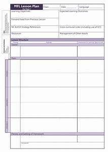 Mfl Lesson Plan Template  Ks3