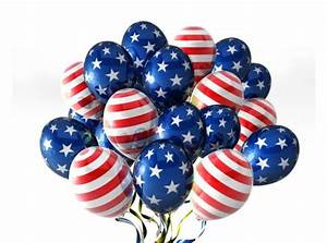 Balloons In Traditional Colors And American Flag Design