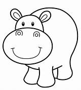 Hippo Coloring Printable Zoo Animal Cartoon Animals Template Colouring Safari Sheets Uniquecoloringpages sketch template