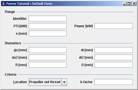 java swing layout uses the formlayout and the defaultformbuilder