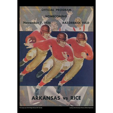 2021 Vintage Arkansas Razorbacks Football Calendar ...