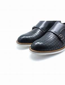 Grey Leather Double Monk Strap F16c2 2