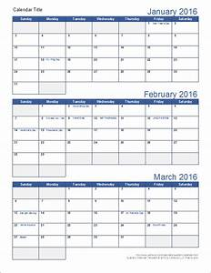 quarterly calendar template With calendar template 3 months per page