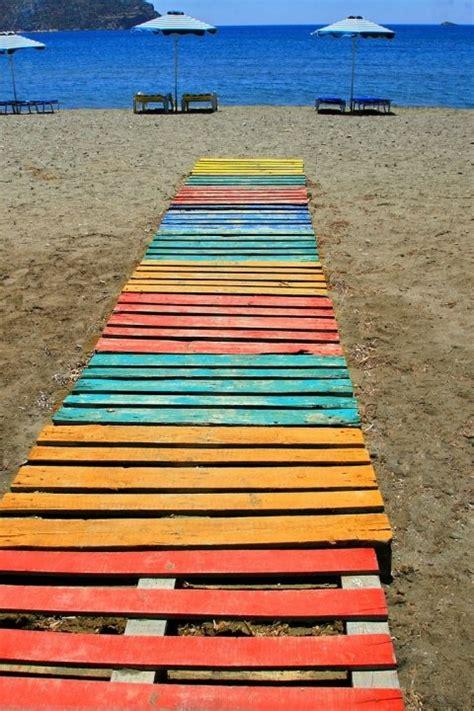 upcycle wooden palette boardwalk  beach rainbow