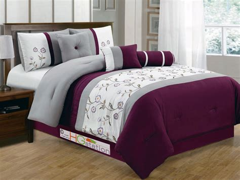 gray bedding sets king 7p floral striped pleated embroidery comforter set purple