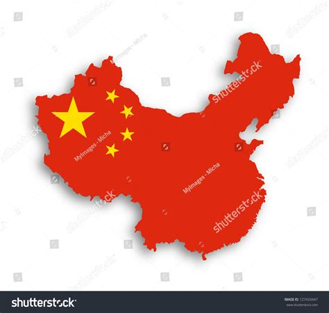 Outline Map China Covered Chinese Flag Stock Illustration