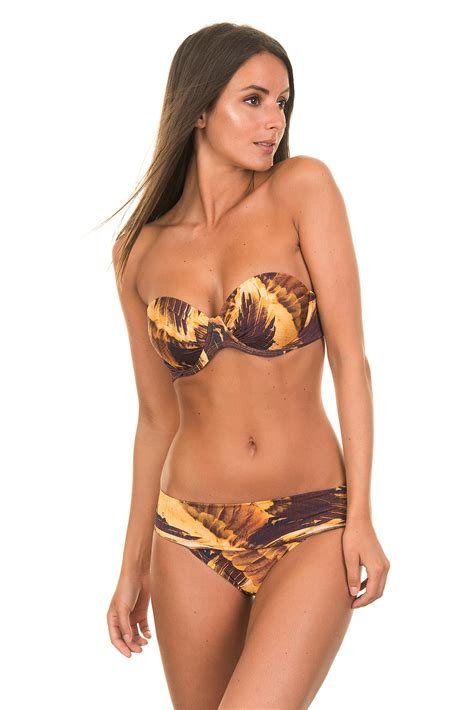 high neck one swimsuit brown and gold featuring a bandeau top and wide