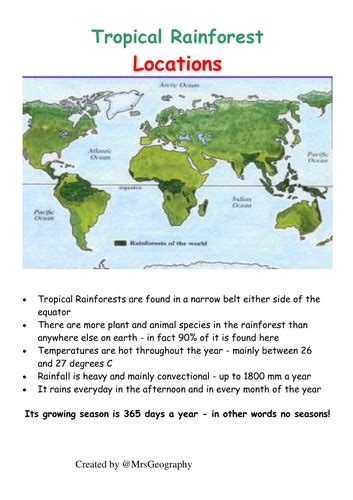 Tropical rainforest plant adaptations Information sheets