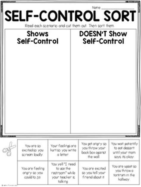 Character Education Self Control Lesson And Printables By Haley O'connor