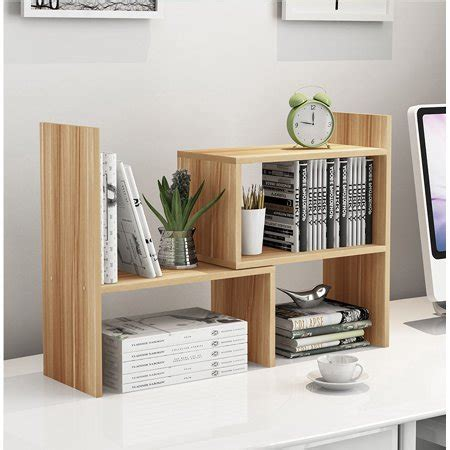 Desktop Bookcase adjustable desktop bookshelf wood storage organizer