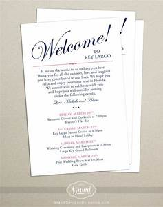 itinerary cards for wedding hotel welcome bag printed With wedding hotel welcome letter template