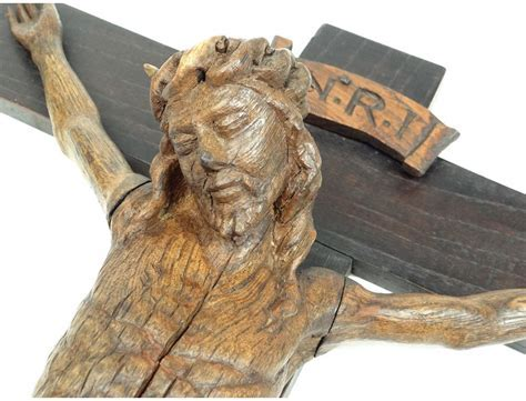 Christ crucifix believe eighteenth century carved oak wood