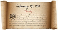 What Day Of The Week Was February 25, 1971?
