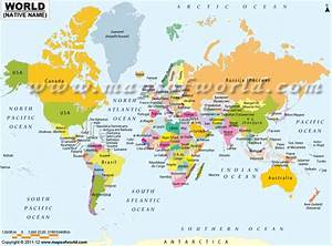 World Map showing Country Names in their Native Language ...
