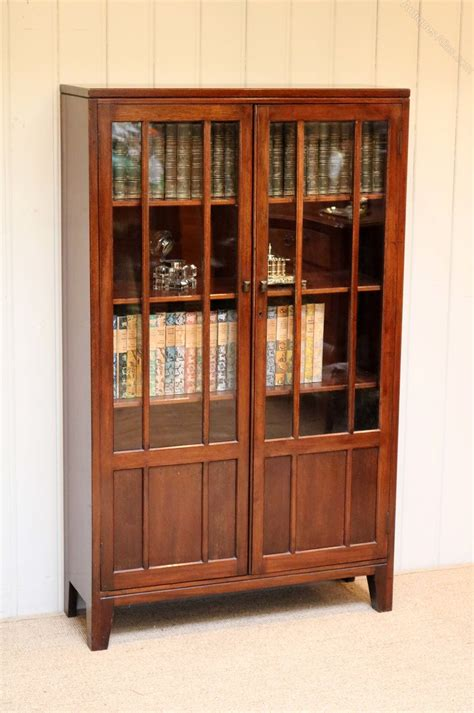 Two Door Bookcase by Mahogany Two Door Glazed Bookcase Antiques Atlas