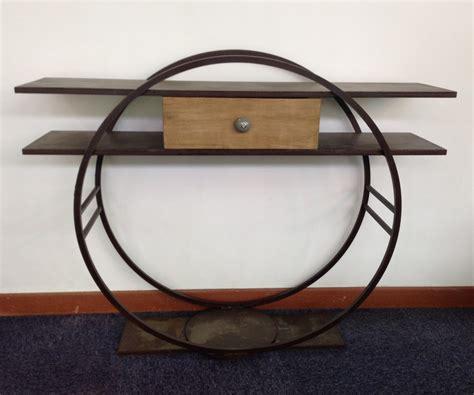 bureau bois de console design en metal avec un tiroir bois massif