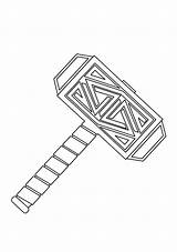 Hammer Coloring God Pages Thor Printable Mjolnir Weapon Categories Super Game sketch template