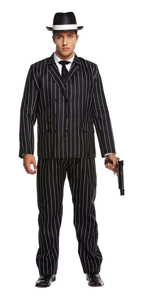 Mens Black And White PinStripe Gangster Suit 1920s Costume Fancy Dress Outfit | eBay