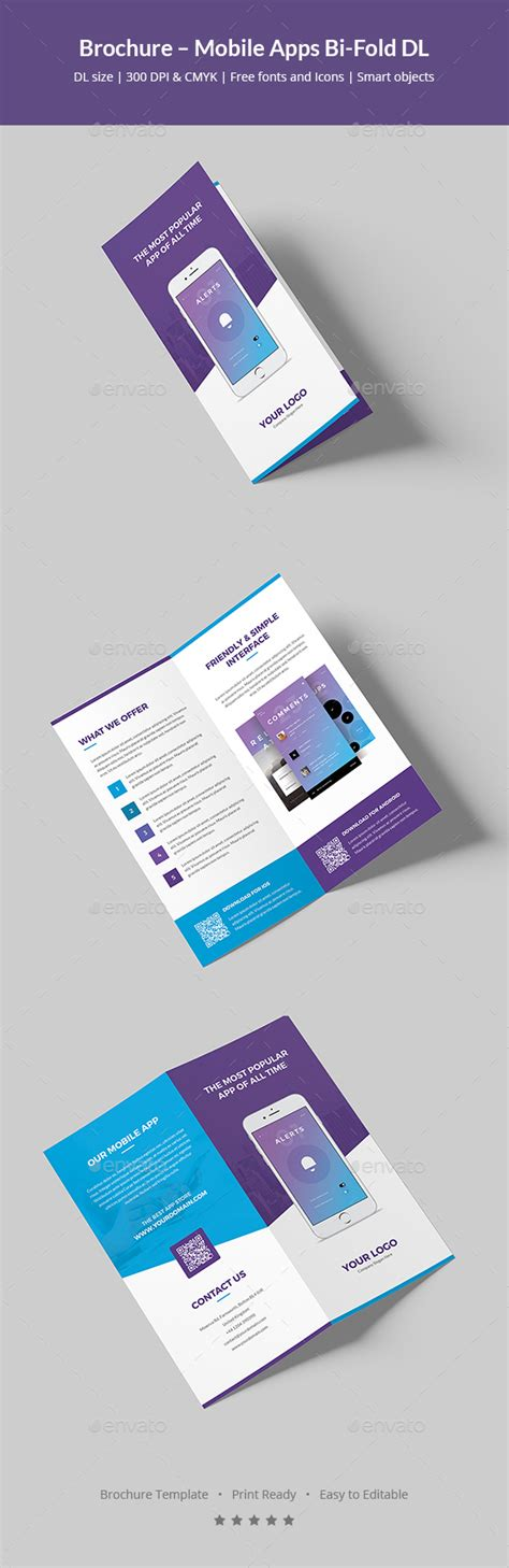 Dl Brochure Template by Brochure Mobile Apps Bi Fold Dl By Artbart Graphicriver