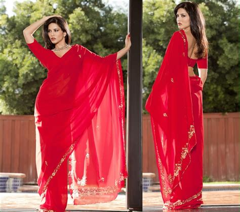 Kashmira Shah Sunny Leone Photos In Sexy Red Saree