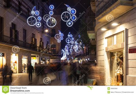Christmas Decorations On City Streets In Barcelona