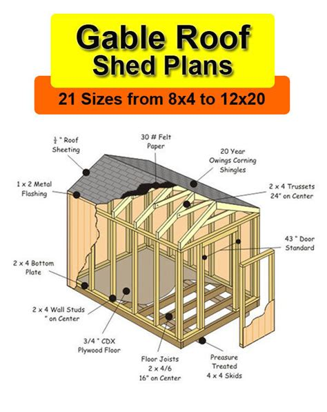 Free 10x12 Shed Plans Gable Roof by 8x12 Shed Plans In 21 Sizes From 8x4 To 12x20 Ebay