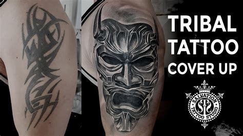 tribal tattoo cover  japanese oni mask  session