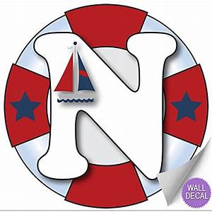 """Wall Letters """"N"""" Nautical Ocean Sailing Red White Blue"""