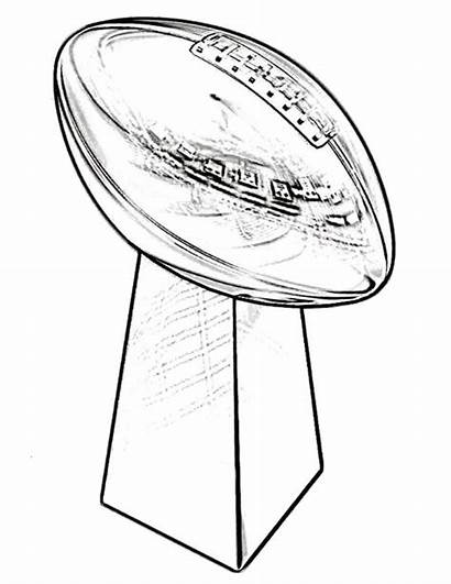 Trophy Bowl Coloring Super Pages Superbowl Football