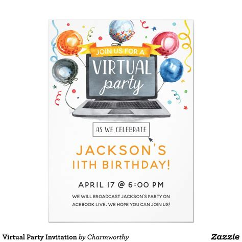 Virtual Party Invitation Zazzle com Party invitations
