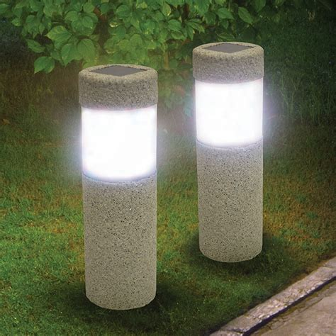 led solar pillar lights set of two kennesaw cutlery