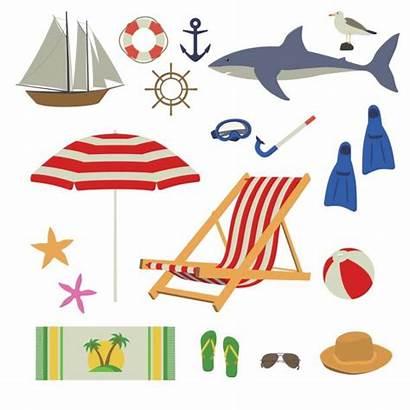 Beach Stuff Summer Sea Towel Vector Illustration