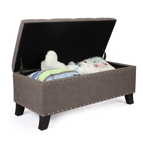 fabric storage ottoman bench joveco fabric retangular button tufted nailhead trim