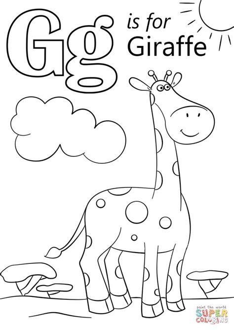gg   giraffe esl letters coloring preschool