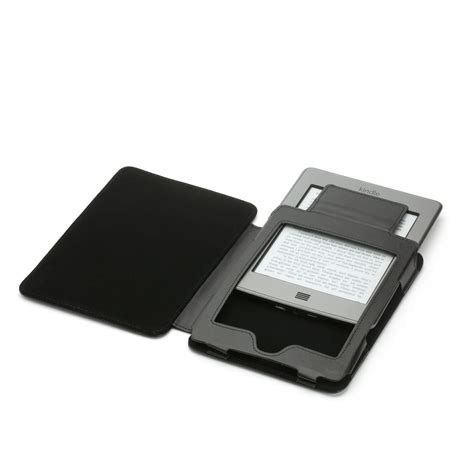 Kindle With Light by Black Genuine Leather For Kindle Touch With Slim Led