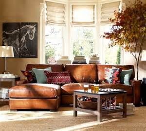 Leather Sectional Living Room Ideas by Turner Square Arm Leather Left Arm Sofa With Chaise