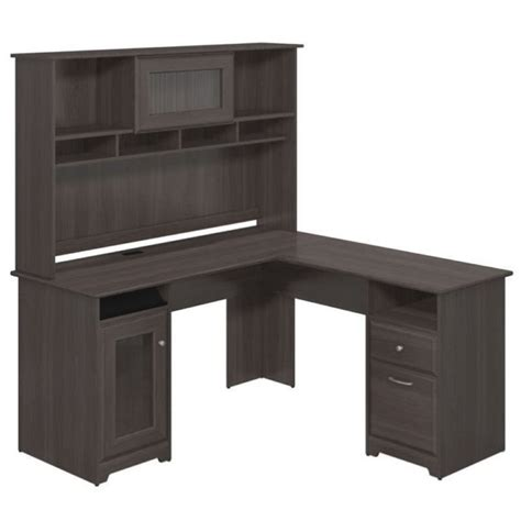 gray desk with hutch bush cabot 60 quot l shape desk with hutch in heather gray