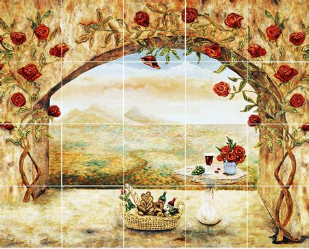 wine and roses tile mural kitchen backsplash custom tile