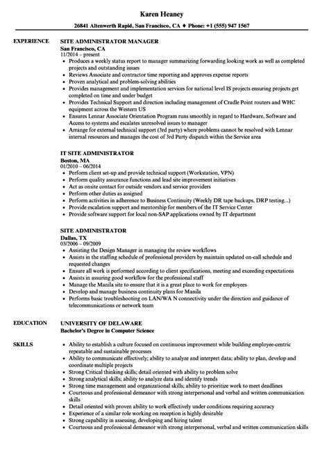 Resume Site by Site Administrator Resume Sles Velvet