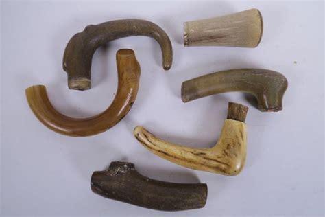Six Carved Horn Walking Stick Handles