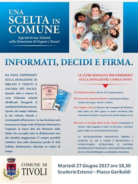 Comune Di Tivoli Ufficio Anagrafe Donazione Organi Una Scelta In Comune Marted 236 27
