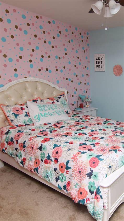 Romantic room decoration ideas/6 easy diy valentine's day room decoration ideas/diy room decor. Target bedding, never grow up, polka dot wall, mint, pink, gold, blue little girls bedroom decor ...