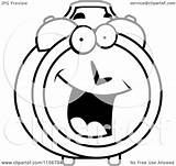 Clock Alarm Clipart Cartoon Smiling Happy Character Coloring Vector Cory Thoman Outlined Clipground sketch template