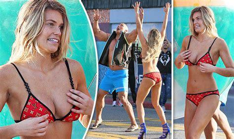 dwayne johnson bikini samantha hoopes flaunts assets in tiny bikini with dwayne