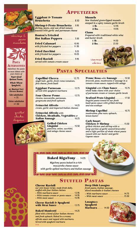 menu cuisine az dinner menu restaurant tempe rigatony 39 s authentic
