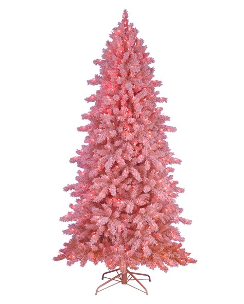 pink frosting flocked artificial christmas tree treetopia
