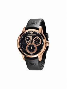 Emporio Armani Meccanico Mens Rubber Rose Gold Watch Black
