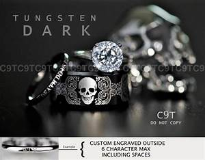 tungsten wedding ring set rocker biker skull 3 piece set With biker wedding ring sets