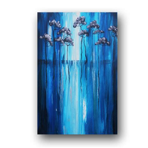 sugar skull wall blue silver painting abstract tree by heatherdaypaintings