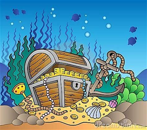 sea bottom   treasure chest stock photography